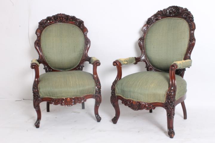 Sedie Antiche Napoli.Antiche Poltrone Lui E Lei Mogano Napoli 1840 Eccezionale Qualita L Filippo