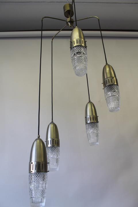 Lampadari Con Solo Lampadine.Lampadario Chandelier A Sospensione 5 Luci Modernariato Anni 60 Space Age Vintage Restaurato